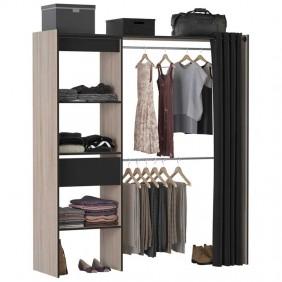 Vestidor negro y roble Chic industrial 168x187x50