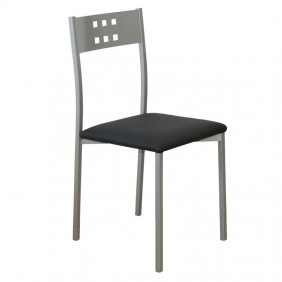 Silla Costa cocina color negro polipiel metal 86x41x47