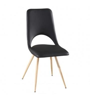 Pack 4 sillas salón negras Lyon diseño moderno pata metal