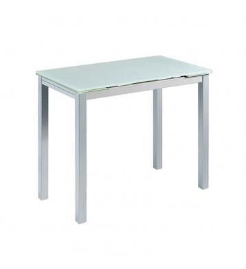 Mesa cocina extensible blanca cristal 100-140x76x60