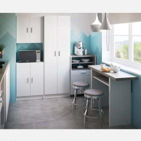 Muebles cocina blanco y gris cemento