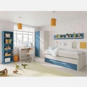 Muebles juveniles dormitorio azul con somieres