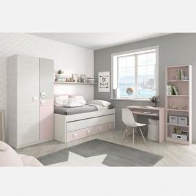 Habitación gris y rosa juvenil completa CON SOMIERES