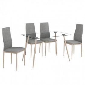 Conjunto mesa cristal + 4 sillas color gris Asper II