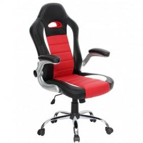 Silla de Oficina estilo Racing para Gamers, en color negro y rojo 65x113-123 cm