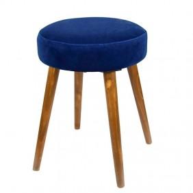 Taburetes Velvet color azul patas madera 49x36 cm