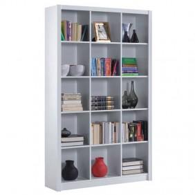 Estantería de pie blanca librería con 15 espacios brillo 195x114x30cm