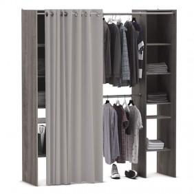 Armario extensible 2 barras colgadoras y 2 columnas con estantes roble prata