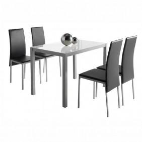 Pack mesa cristal + 4 sillas blanco y negro Saona I