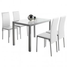 Conjunto mesa cristal + 4 sillas blanco Saona