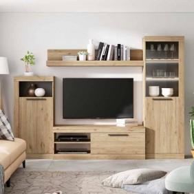 Mueble TV salón Rústik modular 186x258x42 cm