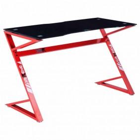 Mesa Gamer Sport cristal negro y rojo 120 cm