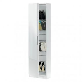 Zapatero con cristal alto color blanco 180x50x22