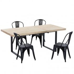 Pack mesa Natural + 4 sillas negras metal estilo industrial