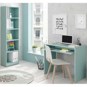 Pack juvenil escritorio y estantería color verde I-Joy