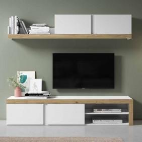 Mueble de salón Fly color blanco y naturale 180 cm
