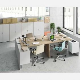 Pack despacho oficina 4 mesas 4 armarios blanco y canadian
