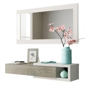 Mueble recibidor Noon con espejo blanco y roble
