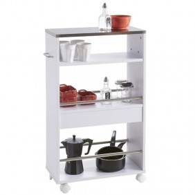 Carrito multiusos cocina Coffe blanco auxiliar 83x50x24 cm