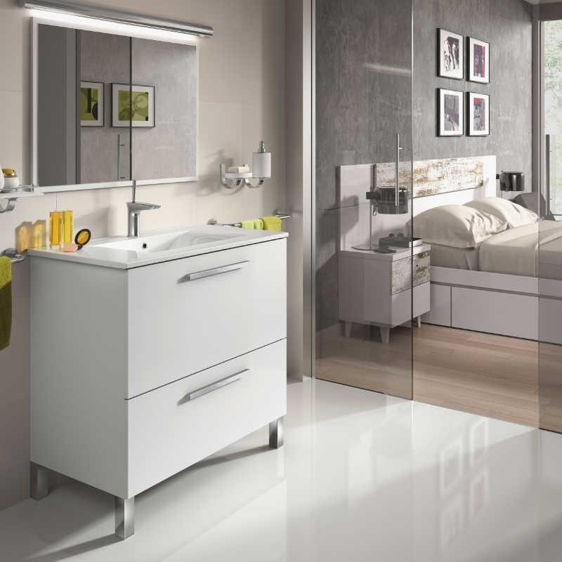 Mueble de baño con lavamanos y espejo. Blanco Brillo