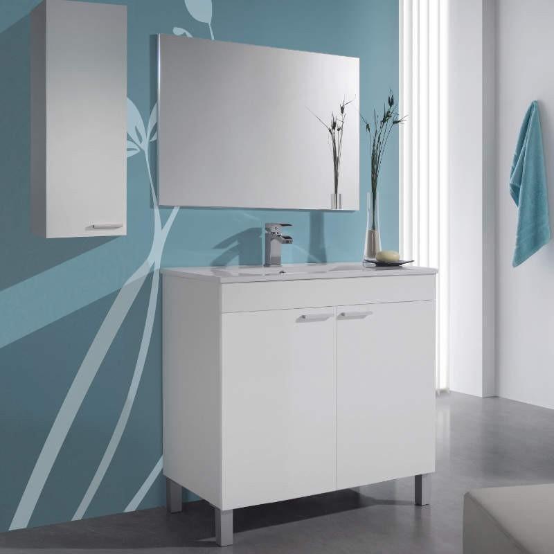 Mueble de baño, lavamanos y espejo, Manila color Blanco Brillo