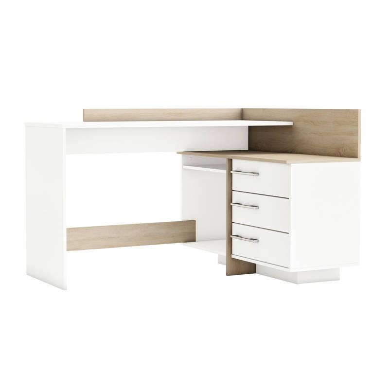 Mesa escritorio con cajonera 105x129 roble cepillado y blanco perla