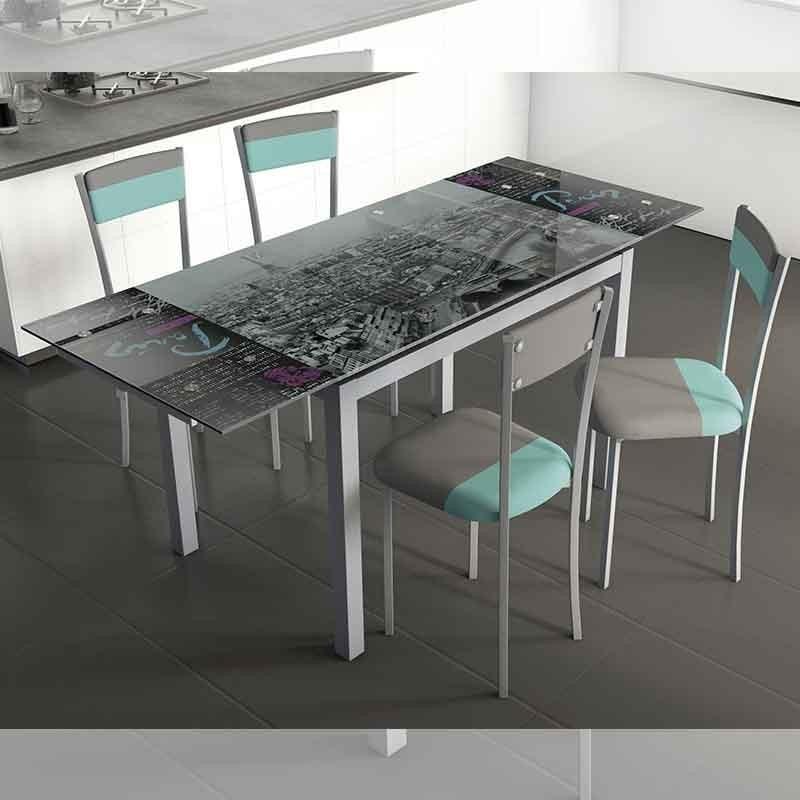 Pack mesa cocina y sillas Gris/Azul