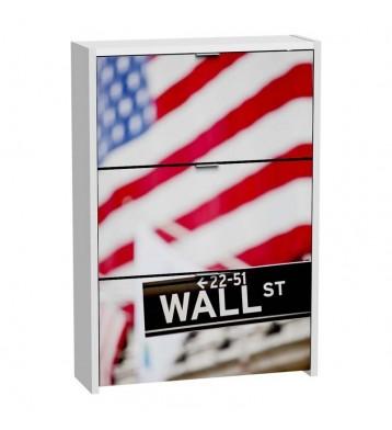 Zapatero 3 puertas blanco 115x80cm, Wall Street