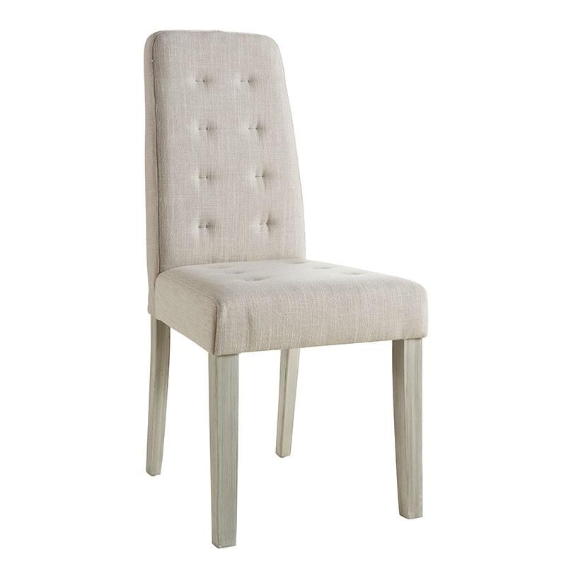 Pack 2 sillas tapizadas en tela color arena acolchadas Miroytengo.es