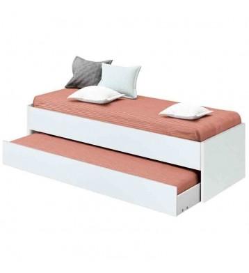 Cama nido blanca con somier Turín Blanco Brillo 90x190