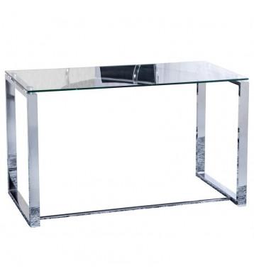 Mesa despacho 100 cm. cristal y acero