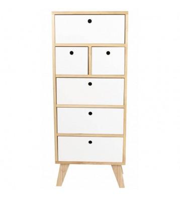 Xinfonier Keiko de 6 cajones en Blanco y Haya 40x99x25 cm