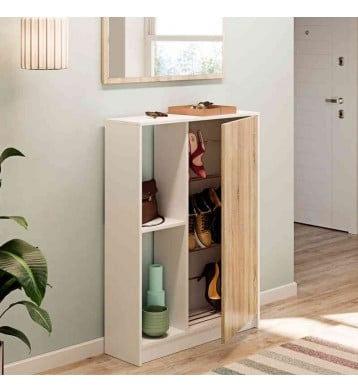 Zapatero con una puerta color blanco y cambrian 110x80x25cm