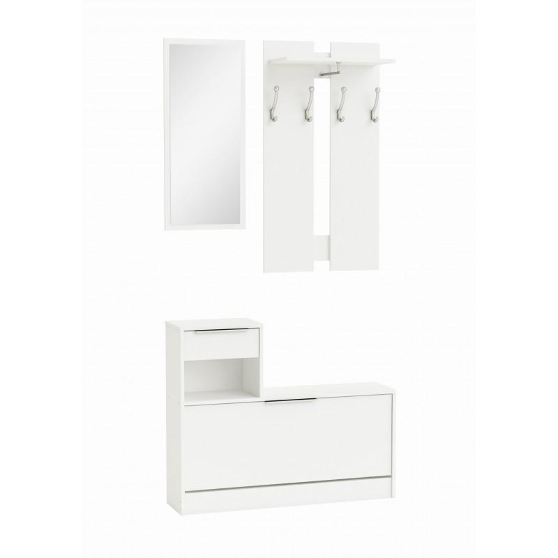 Zapatero vestidor con espejo en color blanco