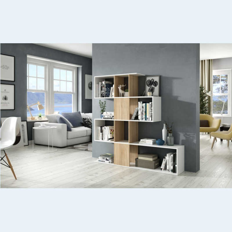 Estantería o librería Zig-zag en color roble canadian y blanco 145x145x30 cm