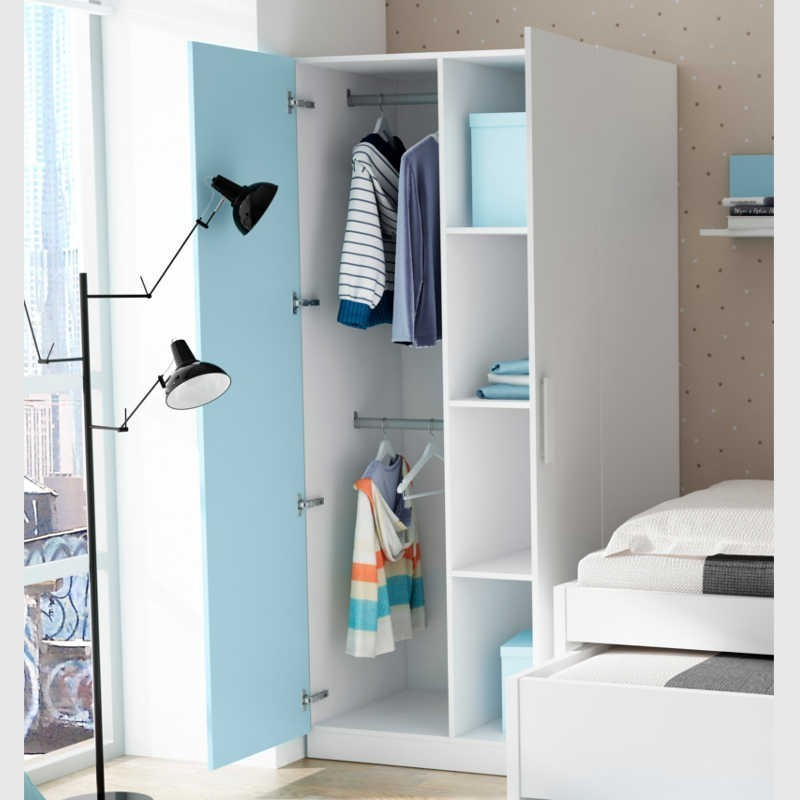 Armario infantil o juvenil 2 puertas color azul nube y blanco 90x190x50 cm