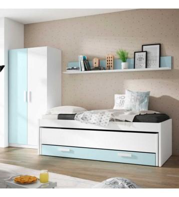 Pack dormitorio juvenil azul nube y blanco