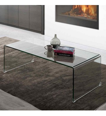 Mesa de centro de cristal transparente curva 35x110x60 cm