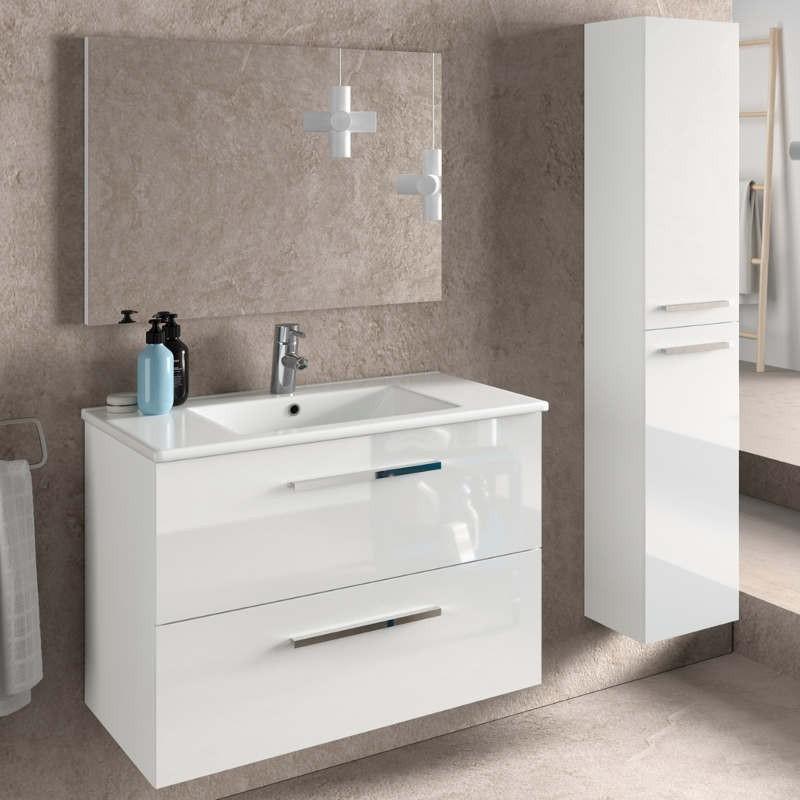 Pack de baño Aruba blanco mueble con espejo lavamanos cerámico y columna