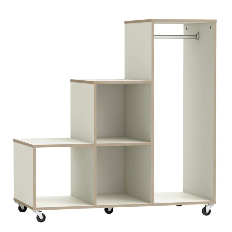 Mueble pechero abierto con estantes y ruedas Mutikaz