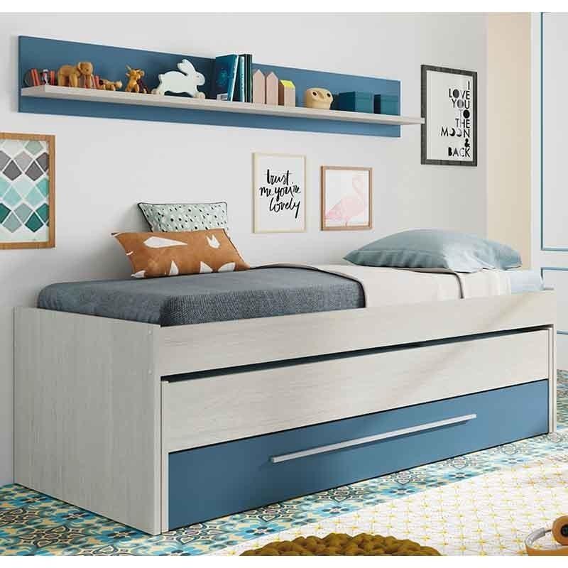 Pack juvenil cama nido azul y blanco con armario y estantería SIN SOMIERES