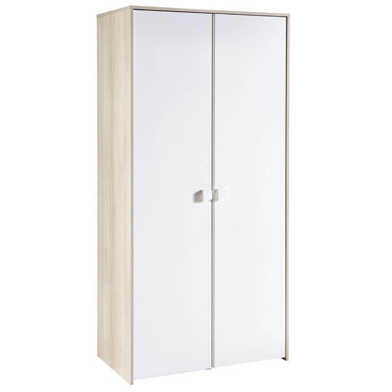 Armario Game 2 puertas color blanco brillo y acacia 89x179x50 cm