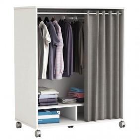 Mueble ropero con ruedas barra y 2 compartimentos con cortina gris