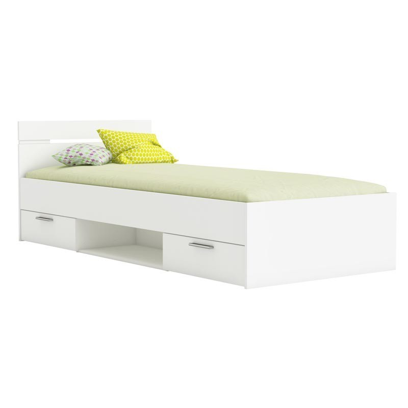 Cama infantil o juvenil Michigan 2 cajones 1 hueco color blanco mate 90x190 cm