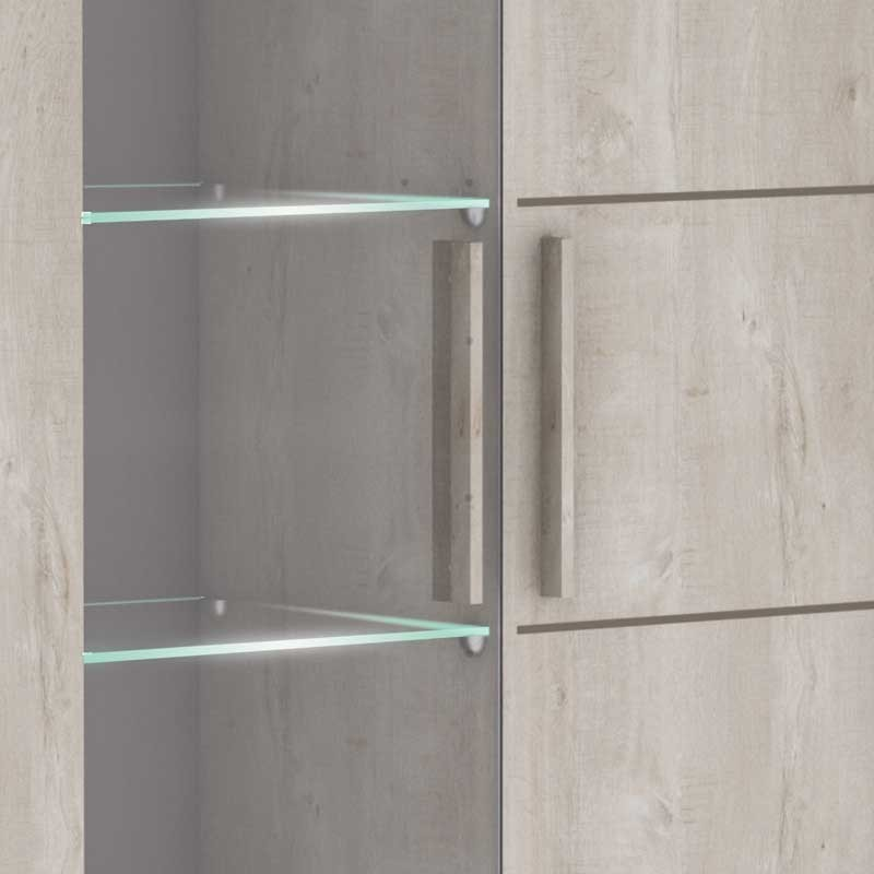 Vitrina con Led Antibes 1 puerta 4 estantes cristal