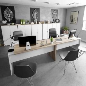 Pack despacho 2 mesas 5 armarios color blanco y roble