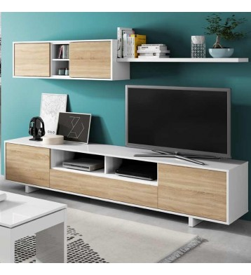 Mueble salon estilo nordico 2 modulos 1 estante 200x41 cm