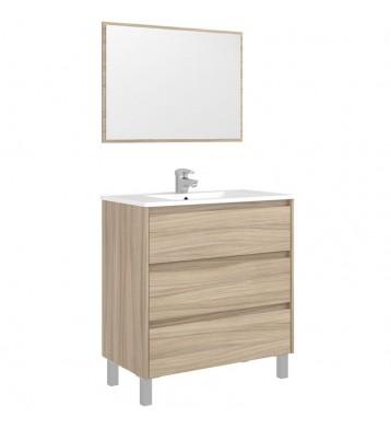 Mueble baño o aseo con espejo 3 cajones cierre progresivo 86x80x45 cm (LAVAMANOS CERÁMICO OPCIONAL)