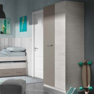 Armario juvenil 2 puertas con barra y 3 estantes 90x200 cm