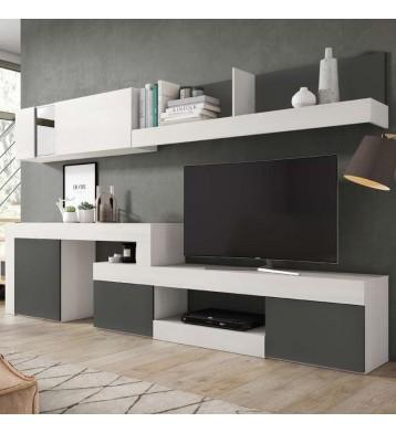 Mueble Módulos Salón Comedor Moderno Blanco y Pizarra 295x164x40 cm
